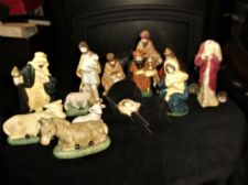 VINTAGE BISQUE CHINA FIGURINES X 13 NATIVITY SCENE KINGS JESUS DONKEY COW SHEEP